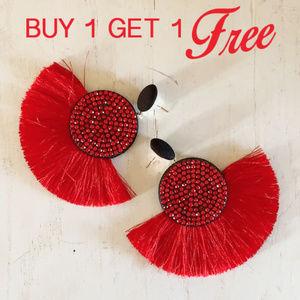 Jewelry - BOGO! Red Statement Tassel Earrings